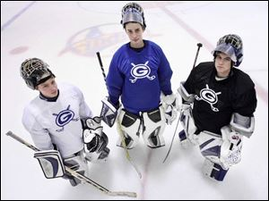 Anthony Wayne won the NHC Blue Division last season and returns as the favorite this year with three solid goaltenders including (from left) Nolan Schreiber, Dan Koralewski, and Ryan Tighe.