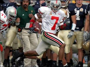 Ohio State's Ted Ginn Jr. knows the way to the end zone, as he showed against Notre Dame last year in the Fiesta Bowl.