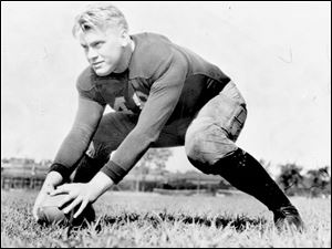 Gerald Ford won three varsity letters at the University of Michigan as a lineman and was the MVP in <b>1934</b> at center. Ford helped the Wolverines to undefeated seasons in <b>1932</b> and <b>1933</b>. His number <b>48</b> jersey has since been retired by the school. While at UM, Ford turned down contract offers from the Detroit Lions and Green Bay Packers of the National Football League. As a member of the <b>1935</b> Collegiate All-Star football team, Ford played against the Chicago Bears in an exhibition game at Soldier Field.