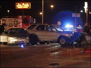 This three-car accident last night at Airport Highway and Holland-Sylvania Road was one of