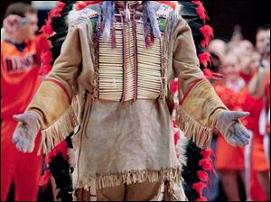 University of Illinois mascot Chief Illiniwek performs for the last time on Wednesday. The NCAA considered the mascot offensive to Native Americans and barred the school from hosting postseason athletic events until he was removed.