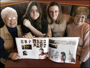 Gerald Butler fans, from left, Doris Dubilzig, Angel Burden, Carlye Seybold, and Cathy White show off the 300 tabletop