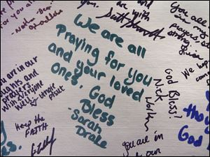 Some of the notes left in Marbeck Center at Bluffton University during the memorial service.