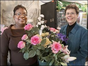 Stacey Turner, left, says that for the first year and a half in her florist business, she leaned on mentor Jean Emery, right.