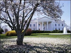 The White House on a spring morning. Its pastry kitchen is small, about 250 square feet.