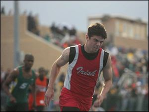 Central Catholic s Dane Sanzenbacher runs in the 400- meter dash. Sanzenbacher won in a meet record 48.66. He also ran on three winning relay teams.
