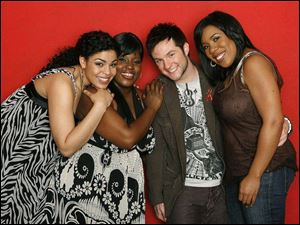 Three weeks of competition remain for the 2007 American Idol final four, from left, Jordin Sparks, LaKisha Jones, Blake Lewis, and Melinda Doolittle.