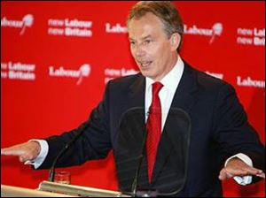 Britain's Prime Minister Tony Blair addresses supporters at Trimdon Labour Club, in his Sedgefield constituency in Trimdon, England.