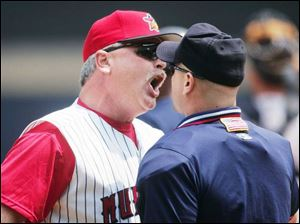 The Mud Hens interim manager Mike Rojas gets in plate umpire Scott Barry's face and gets thrown out in the ninth inning.