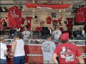 Dale Earnhardt Jr. had five trailers stocked with merchandise at last week's race at Lowe's Motor Speedway in Concord, N.C.