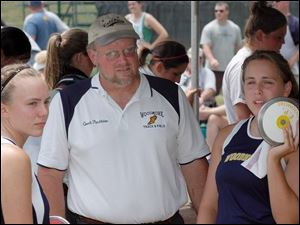 Sophomore Erin Pendleton, left, and senior sister Emily did the heavy lifting as Woodmore placed fourth in the Division III state track meet. Dad Mike Pendleton was very pleased.