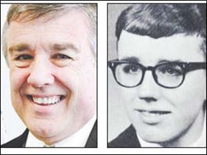 John Hayes today, left, and in a photo from St. Francis de Sales High School, where he graduated in 1966, right.