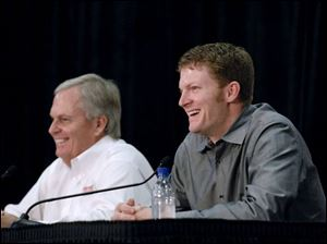 Dale Earnhardt Jr., alongside Rick Hendrick, cleaned himself up for his announcement he was moving to Hendrick Motorsports.