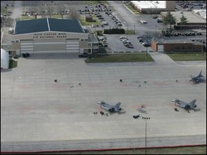 The Ohio Air National Guard s 180th Fighter Wing is stationed at Toledo Express Airport.