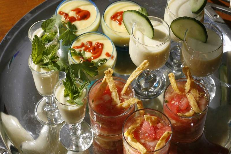 chilled soups  serve as summer appetizers in small glasses