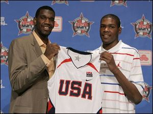 Greg Oden, left, and Kevin Durant are expected to be the top two selections in the NBA draft. The two were officially named to the USA Basketball senior national team in May.
