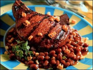Summer Baked Beans with Grilled Chops.