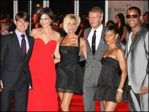 Attending the party at L.A. s Museum of Contemporary Art were, from left, Tom Cruise, Katie Holmes, Victoria Beckham, David Beckham, Jada Pinkett Smith, and Will Smith.