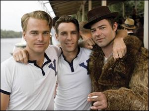 Playing college friends in The Company are, from left, Chris ODonnell as Jack McAuliffe, Alessandro Nivola as Leo Kritzky, and Rory Cochrane as Yevgeny Tsipin.