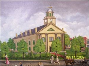 A rendering of the 1841 Seneca County Courthouse in Tiffin. A suggestion to appease people on both sides of the local courthouse debate is to build a new one just like it.