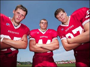 Bedford hopes to improve on a 4-5 season with key returing players (from left) Tyler Gill, Joe Copciac and Matt Drew.