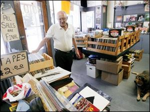 Frank Lynn in his Lagrange Street store, AA Records Are Us.