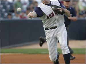 Mud Hens' Mike Hessman makes a throw to first.
