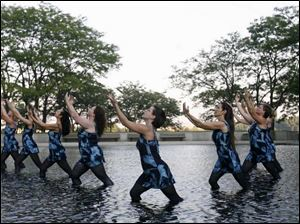 Practicing are dancers, from left, Roni Briggs, Madeline Irmen, Carol Mahn, Allison Kodeih,