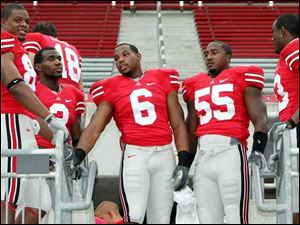 The heart of the OSU defense, from left, Lawrence Wilson, Malcolm Jenkins, Larry Grant, Curtis Terry and Donald Washington.