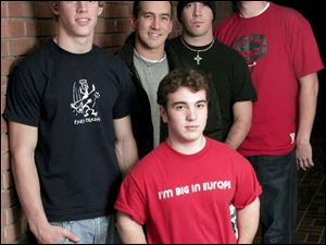 cty roosford15p 1 December 14, 2004. Members of the Christian rock band Pawn in front Tim Strausbaugh, back left to right Kyle Kleeberger, Travis Montgomery, Mark Montgomery, and Rob Golden. Blade photo by Jeremy Wadsworth