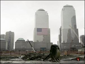 Ground Zero in lower Manhattan appears deserted on the eve of the sixth anniversary of the