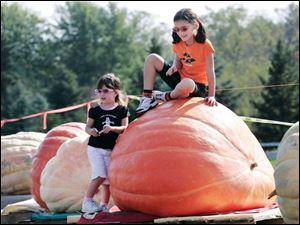 Emma Smith, 3, left, and her sister Abbey Smith, 7, of Flatrock, Mich., check out some of the large pumpkins during the 13th annual Great Pumpkin Weigh-Off at Harnica Kids' Pumpkin Farm in Dundee, Mich., on Saturday, October 6, 2007.  The event is sponsored by the Great Pumpkin Commonwealth Association.