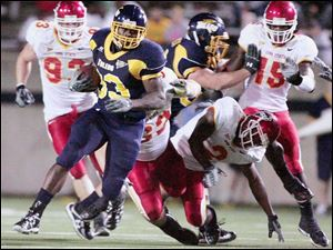 Rockets tailback Jalen Parmele is one of the few bright spots in Toledo s first six games. The senior has rushed for 620 yards on 128 attempts and scored eight touchdowns.
