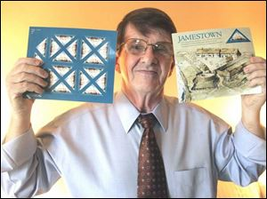 Jim Fagerstrom holds his Jamestown Settlement stamps in his Perrysburg, Ohio home.