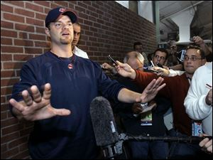 Paul Byrd addresses the media before last night's American League championship series Game 7 at Fenway Park.
