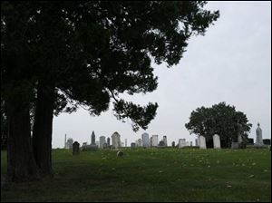 A view of gravestones in Faust Cemetery.