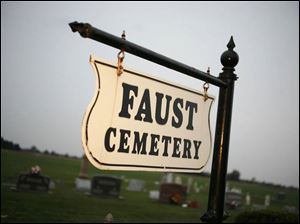 The entrance to Faust Cemetery near Fremont.
