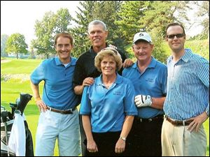 Bob Miller, left, Jay Delsing, Vicki Balhoff, Dick Balhoff, and Lawain McNeil at the RVR outing.