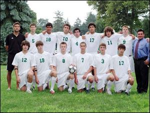 The Ottawa Hills boys' soccer team is, front row, from left, David Joseph, Jack Jamieson, Ben Bryant, Sam Kuehnle, Reid Glosser, and Emerson Saum, and, back row, from left, coach Greg McElroy, Sam Rumpf, Jake Bruner, Eliot Browarsky, David Sherry, Josh Bruner, Kevin Elliott, and Kevin Nugent. Not pictured: Jordan Bernardo, Charles Deluga, David McChesney, and Ian Monroe.