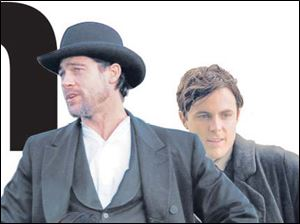 Brad Pitt and Casey Affleck in The Assassination of Jesse James by the Coward Robert Ford.