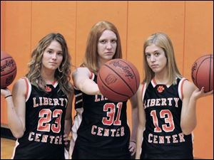 Liberty Center has plenty of depth and hopes to contend for the Northwest Ohio Athletic League title with, from left, Katie Lillevik, Kaitlin Rohrs and Kelsey Bare.