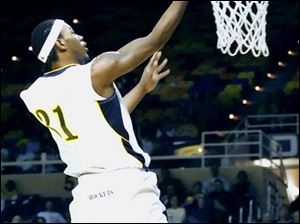 The University of Toledo's Tyrone Kent makes sure on this 