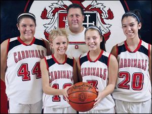 Cardinal Stritch coach Gary Lemle has experienced players returning with, from left, Katie