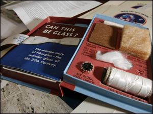 Among the items added to the Ward M. Canaday Center for Special Collections is a sample kit about glass that was handed out or so