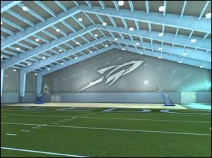 According to renderings, the University of Toledo's new practice facility adjacent to Savage Hall will look something like this.