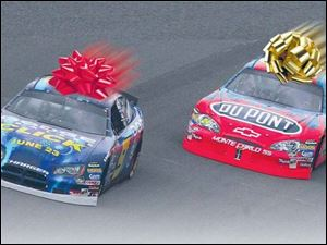 Don't confuse Kasey Kahne with a candy cane, and you can find out what's it's like to drive at MIS, just like Jeff Gordon.