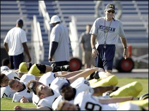 Michigan coach Lloyd Carr watches his Wolverines loosen up for practice getting ready for the Capital One Bowl on Jan. 1.