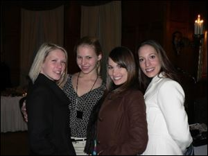 Julie Gannon, Samantha Lipman, Amy Foreman, and Erin Hirschfeld at the Toledo Club's Wine and Glitter event at the Toledo Club on Jan. 27, 2008.
