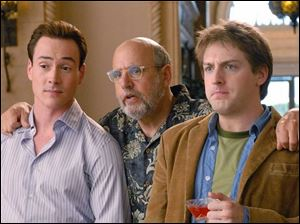 Marty (Chris Klein, left),  Uncle Saul (Jeffrey Tambor, center) and Josh (Fran Kranz) are among the offbeat residents of El Capitan apartments in the CBS sitcom <i>Welcome to the Captain</i>, premiering Monday.