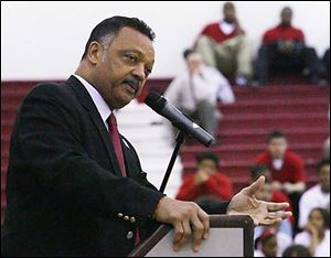 The Rev. Jesse Jackson speaks to students at Lima Senior High School today.